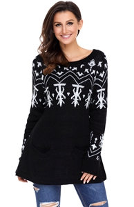 BY27720-2 Black A-line Casual Fit Christmas Fashion Sweater